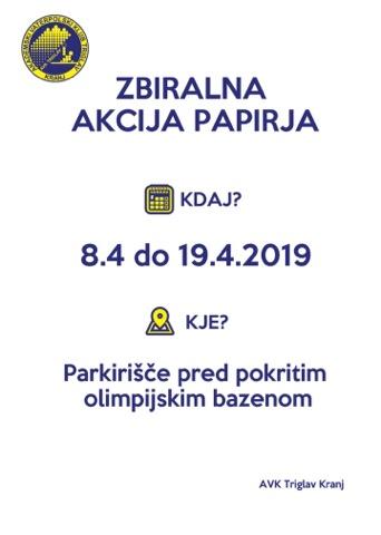 Zbiralna akcija papirja (8. – 19. 4. 2019)
